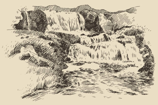 sketch of waterfalls 2