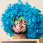 man in blue afro 2